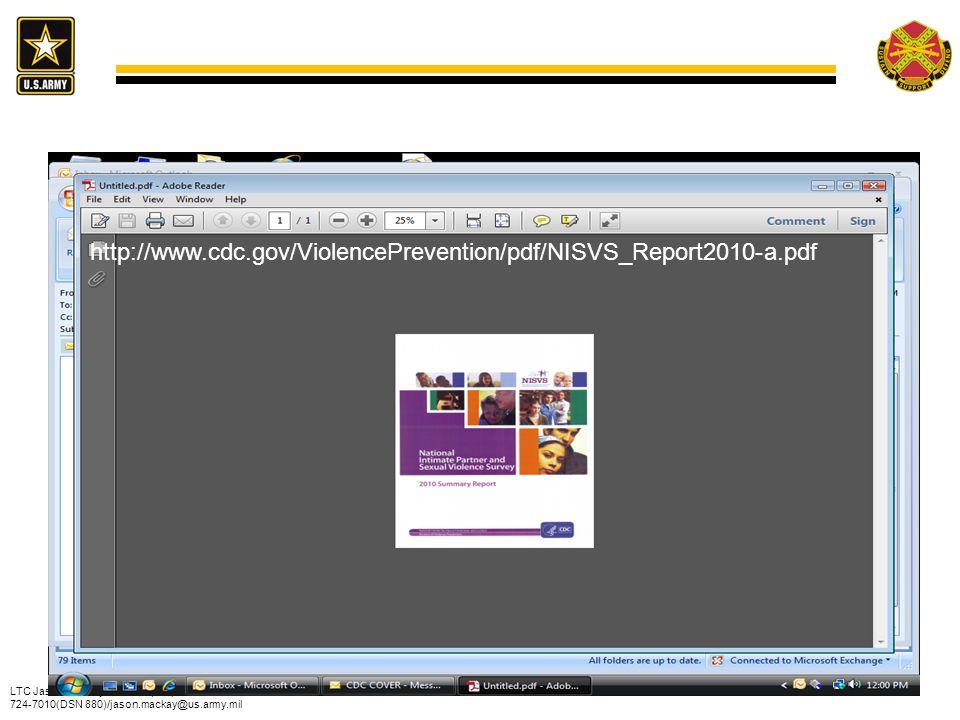 LTC Jason Mackay/IMPI-ZA/(973) 724-7010(DSN 880)/jason.mackay@us.army.mil 28 http://www.cdc.gov/ViolencePrevention/pdf/NISVS_Report2010-a.pdf