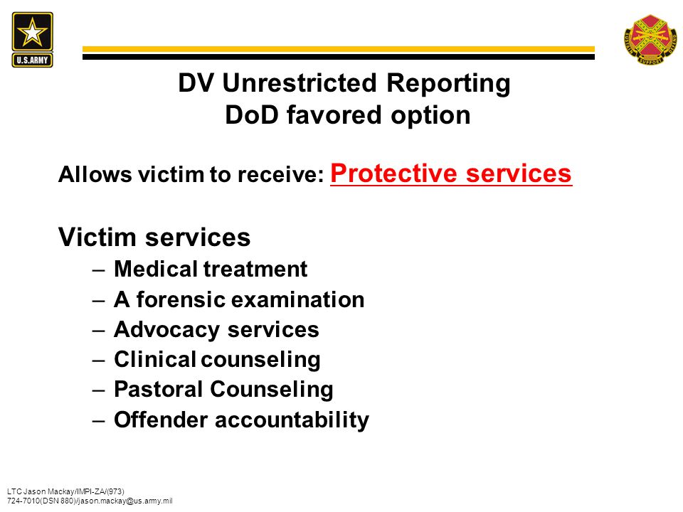 LTC Jason Mackay/IMPI-ZA/(973) 724-7010(DSN 880)/jason.mackay@us.army.mil Department of the Army Domestic Violence and Child Abuse Fatality Review, 7 th Annual Report June 2011 (Summary of 2009 Data)