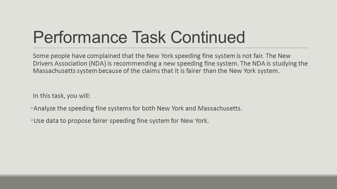 Performance Task Continued Some people have complained that the New York speeding fine system is not fair. The New Drivers Association (NDA) is recomm