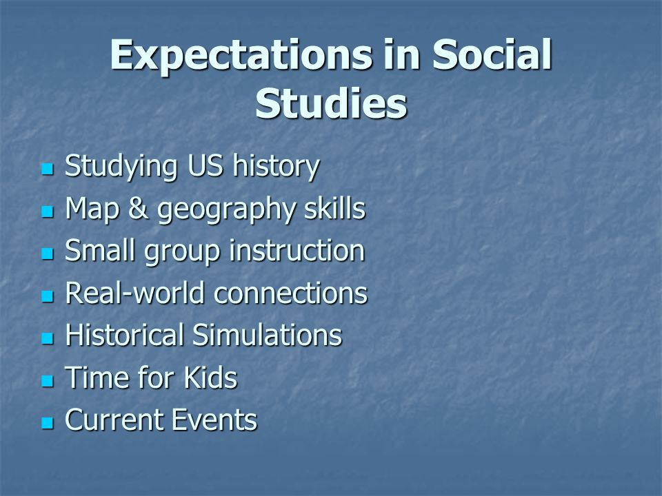 Expectations in Social Studies Studying US history Studying US history Map & geography skills Map & geography skills Small group instruction Small group instruction Real-world connections Real-world connections Historical Simulations Historical Simulations Time for Kids Time for Kids Current Events Current Events