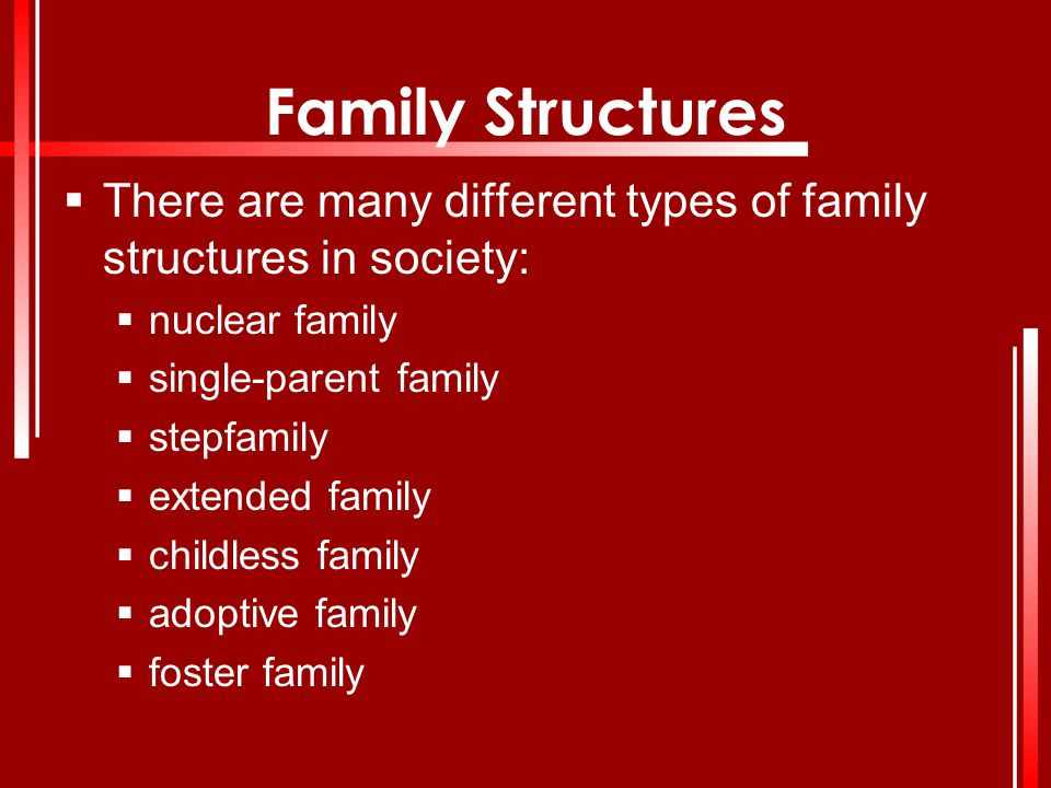 Family Structures  There are many different types of family structures in society:  nuclear family  single-parent family  stepfamily  extended fa