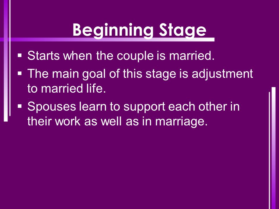 Beginning Stage  Starts when the couple is married.  The main goal of this stage is adjustment to married life.  Spouses learn to support each othe