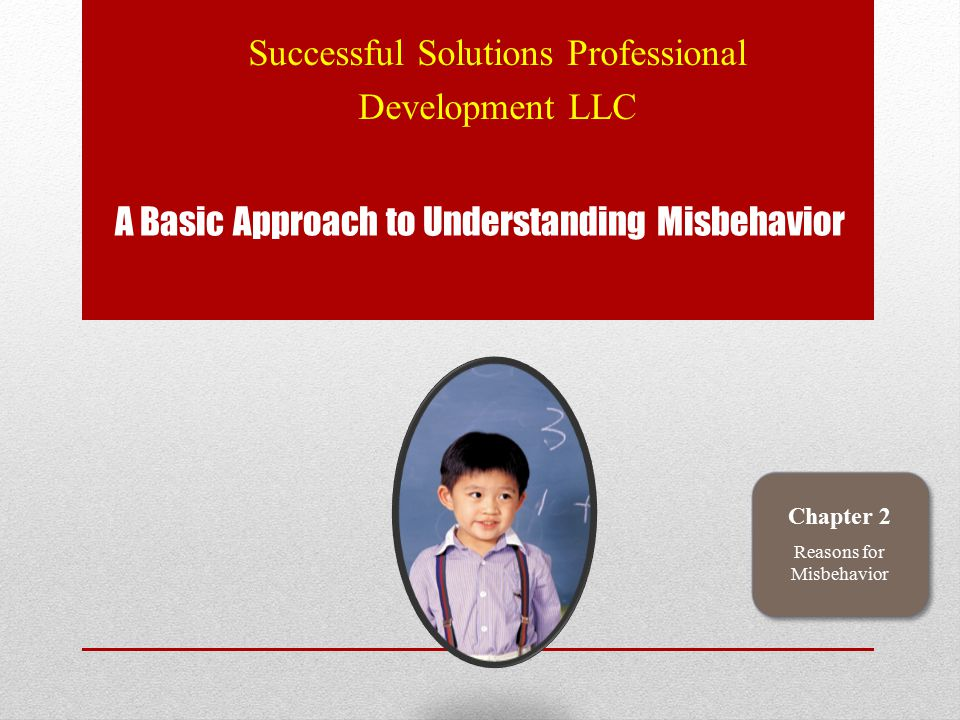 A Basic Approach to Understanding Misbehavior Successful Solutions Professional Development LLC Chapter 2 Reasons for Misbehavior
