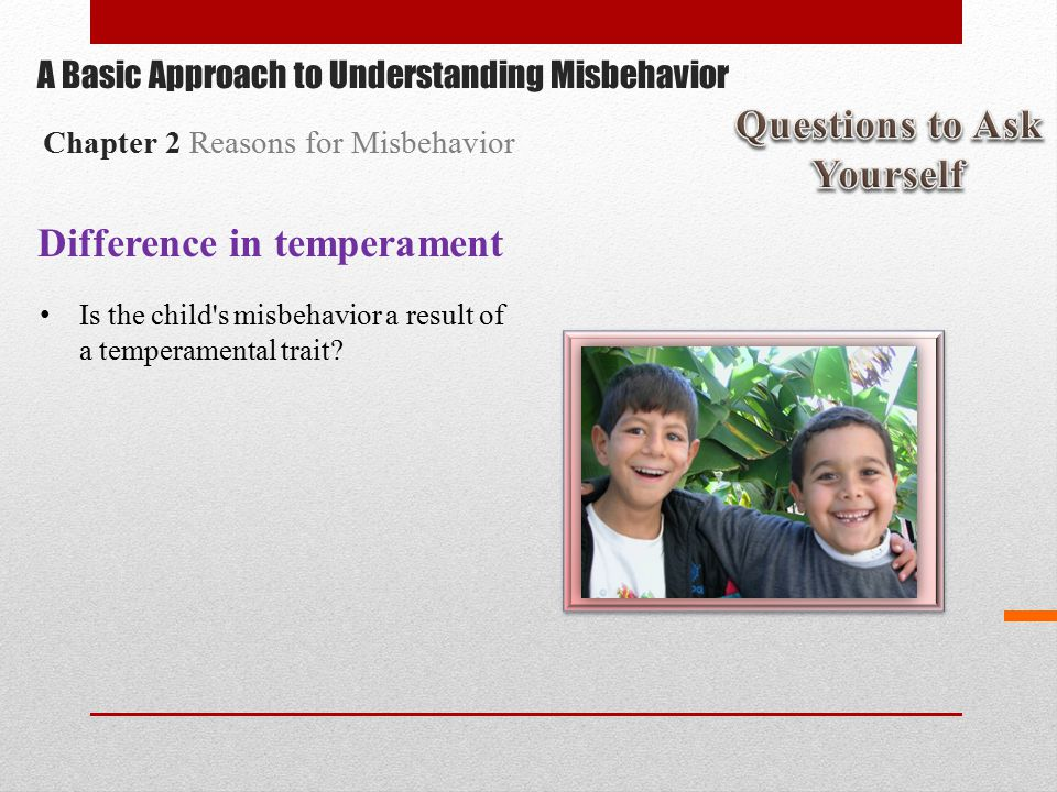 Difference in temperament Is the child s misbehavior a result of a temperamental trait.