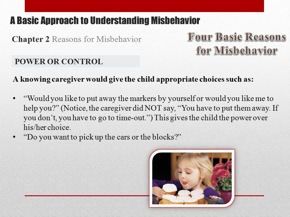A knowing caregiver would give the child appropriate choices such as: Would you like to put away the markers by yourself or would you like me to help you (Notice, the caregiver did NOT say, You have to put them away.
