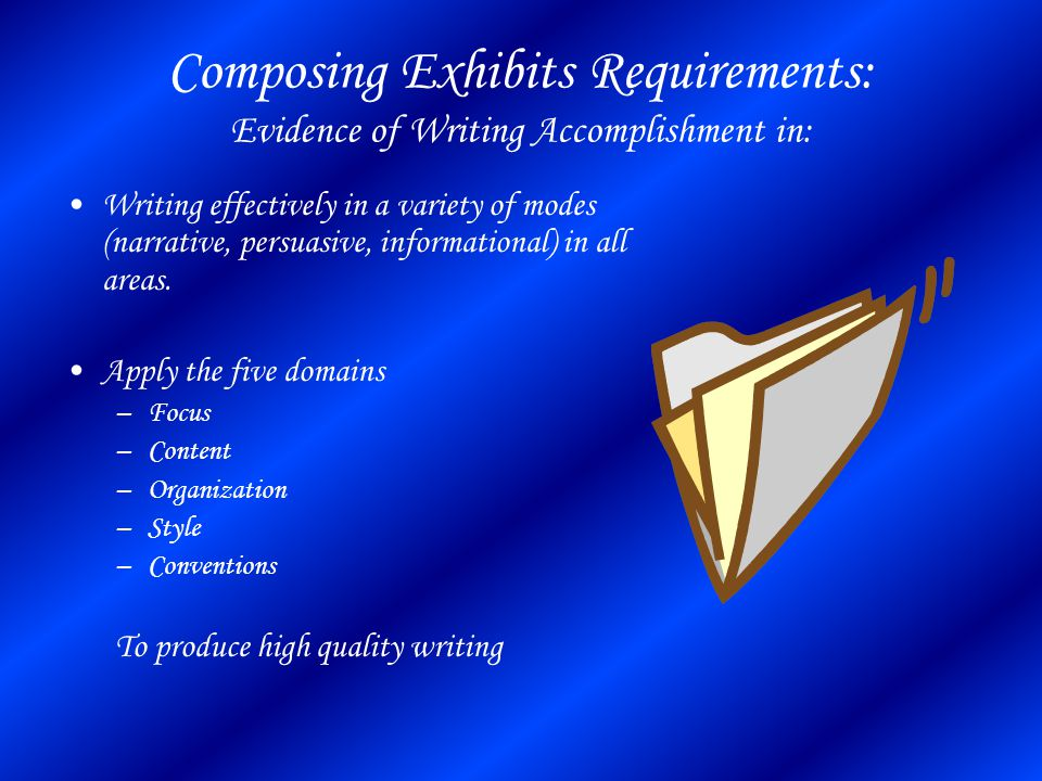 Composing Exhibits Requirements: Evidence of Writing Accomplishment in: Writing effectively in a variety of modes (narrative, persuasive, informational) in all areas.