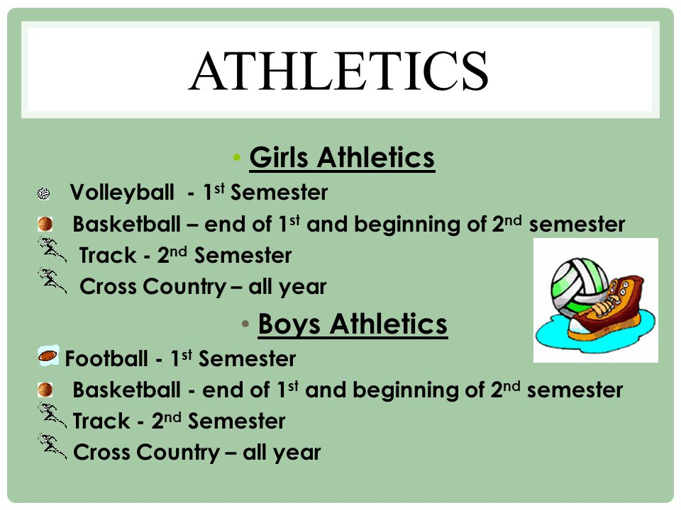 ATHLETICS Girls Athletics Volleyball - 1 st Semester Basketball – end of 1 st and beginning of 2 nd semester Track - 2 nd Semester Cross Country – all year Boys Athletics Football - 1 st Semester Basketball - end of 1 st and beginning of 2 nd semester Track - 2 nd Semester Cross Country – all year