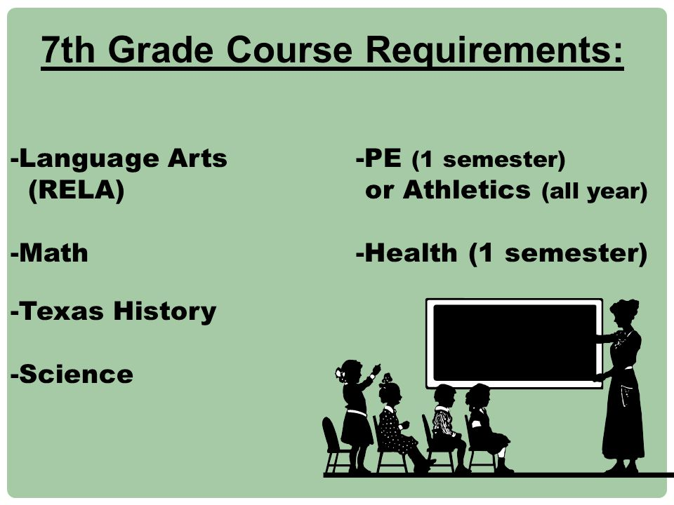 7th Grade Course Requirements: -Language Arts -PE (1 semester) (RELA) or Athletics (all year) -Math -Health (1 semester) -Texas History -Science