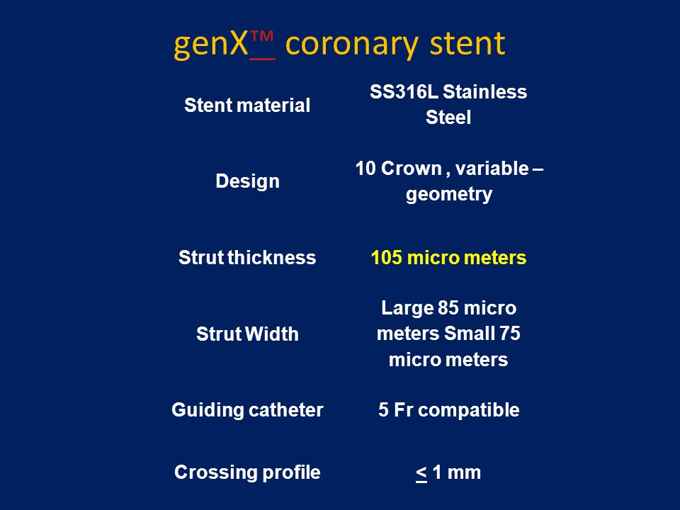 genX™ coronary stent™ Stent material SS316L Stainless Steel Design 10 Crown, variable – geometry Strut thickness105 micro meters Strut Width Large 85
