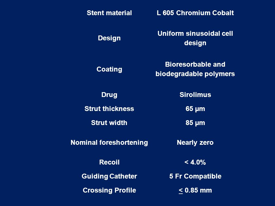 Stent materialL 605 Chromium Cobalt Design Uniform sinusoidal cell design Coating Bioresorbable and biodegradable polymers DrugSirolimus Strut thickne