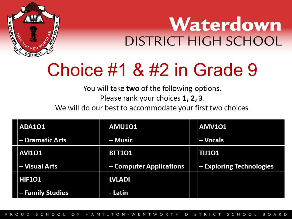 Choice #1 & #2 in Grade 9 ADA1O1 – Dramatic Arts AMU1O1 – Music AMV1O1 – Vocals AVI1O1 – Visual Arts BTT1O1 – Computer Applications TIJ1O1 – Exploring Technologies HIF1O1 – Family Studies LVLADI - Latin You will take two of the following options.
