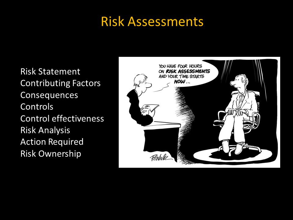 Risk Assessments Risk Statement Contributing Factors Consequences Controls Control effectiveness Risk Analysis Action Required Risk Ownership