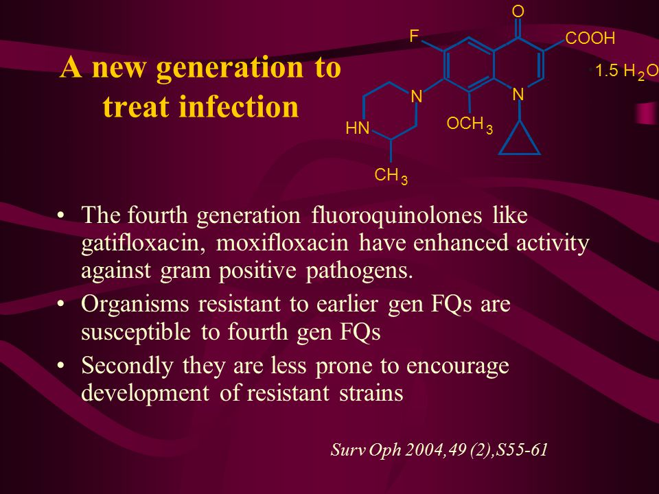 A new generation to treat infection The fourth generation fluoroquinolones like gatifloxacin, moxifloxacin have enhanced activity against gram positiv