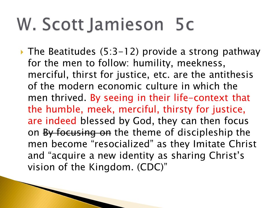  The Beatitudes (5:3-12) provide a strong pathway for the men to follow: humility, meekness, merciful, thirst for justice, etc.