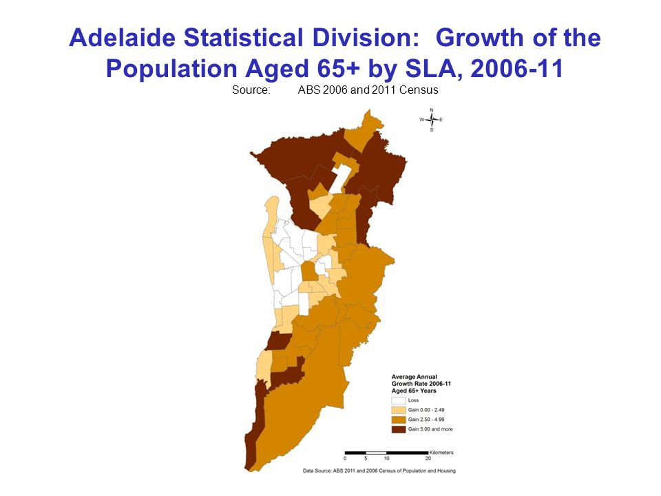 Adelaide Statistical Division: Growth of the Population Aged 65+ by SLA, Source:ABS 2006 and 2011 Census