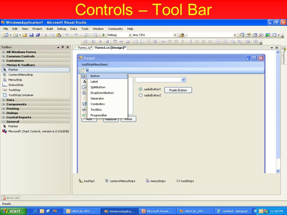 Controls – Tool Bar