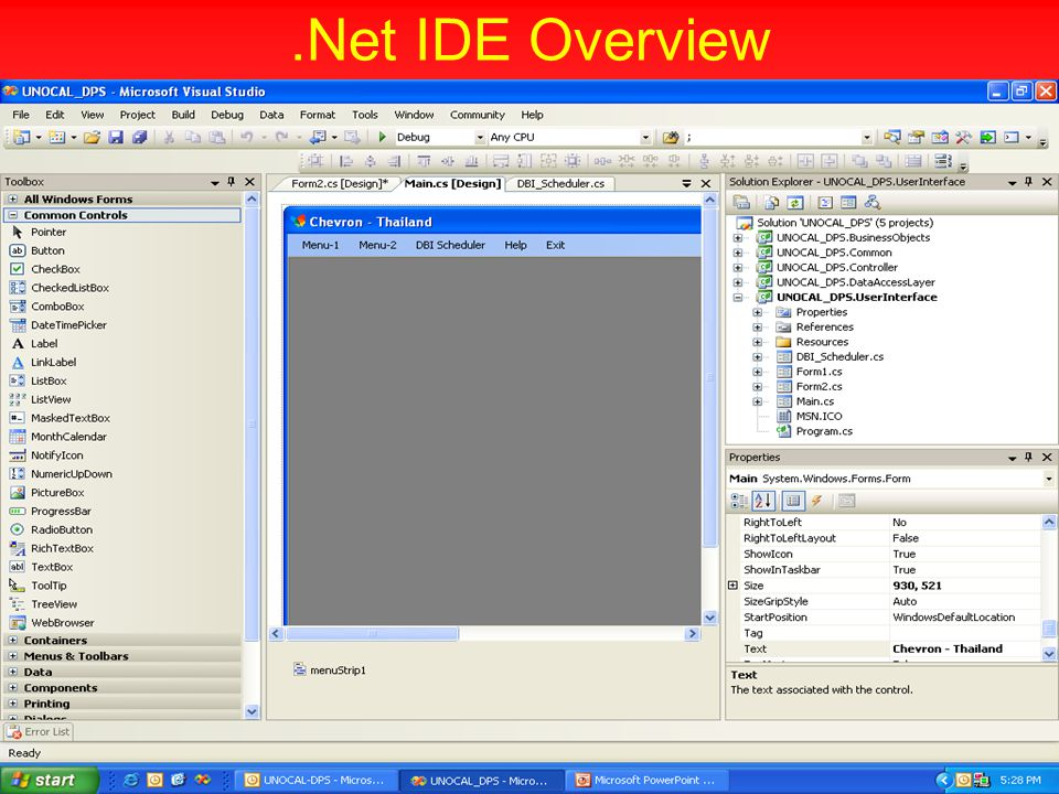 .Net IDE Overview
