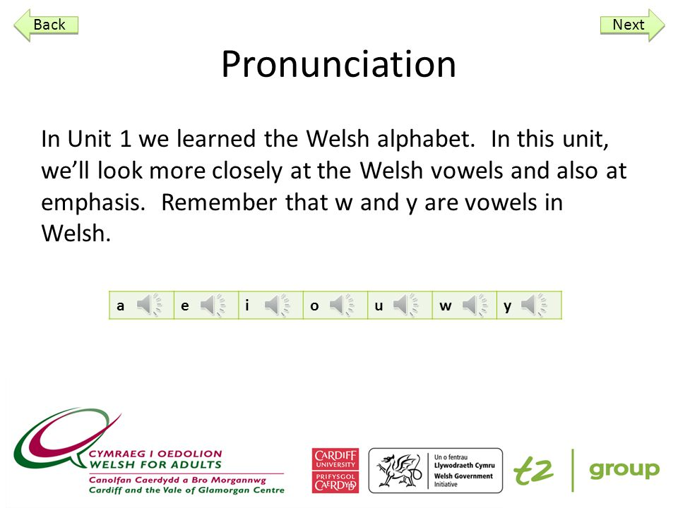 t2 group Introduction to the Welsh Language Unit 2 Pronunciation How are you Numbers Days of the week Next
