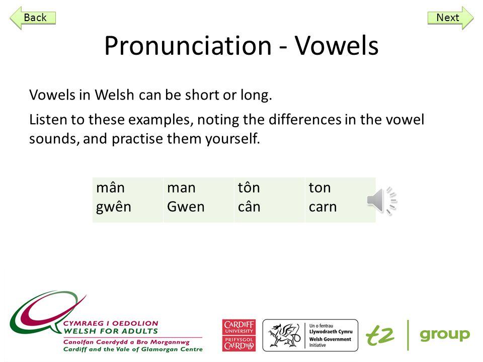 Pronunciation - Vowels Vowels in Welsh can be short or long.
