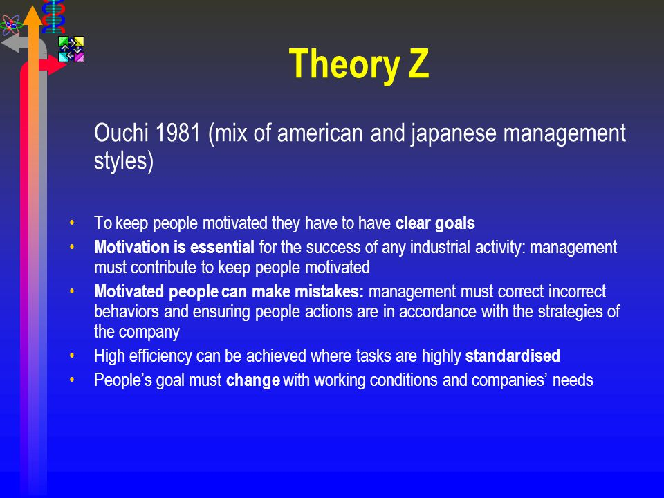 Theory Z Ouchi 1981 (mix of american and japanese management styles) To keep people motivated they have to have clear goals Motivation is essential fo