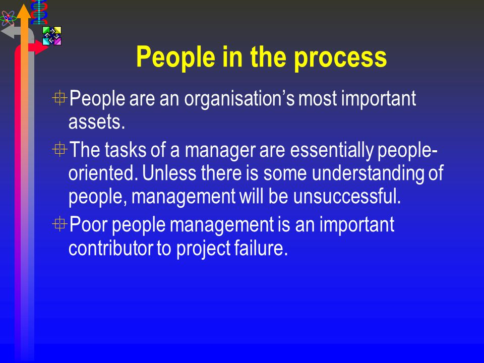 People in the process °People are an organisation's most important assets. °The tasks of a manager are essentially people- oriented. Unless there is s
