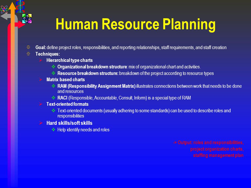 Human Resource Planning ° Goal: define project roles, responsibilities, and reporting relationships, staff requirements, and staff creation ° Techniqu