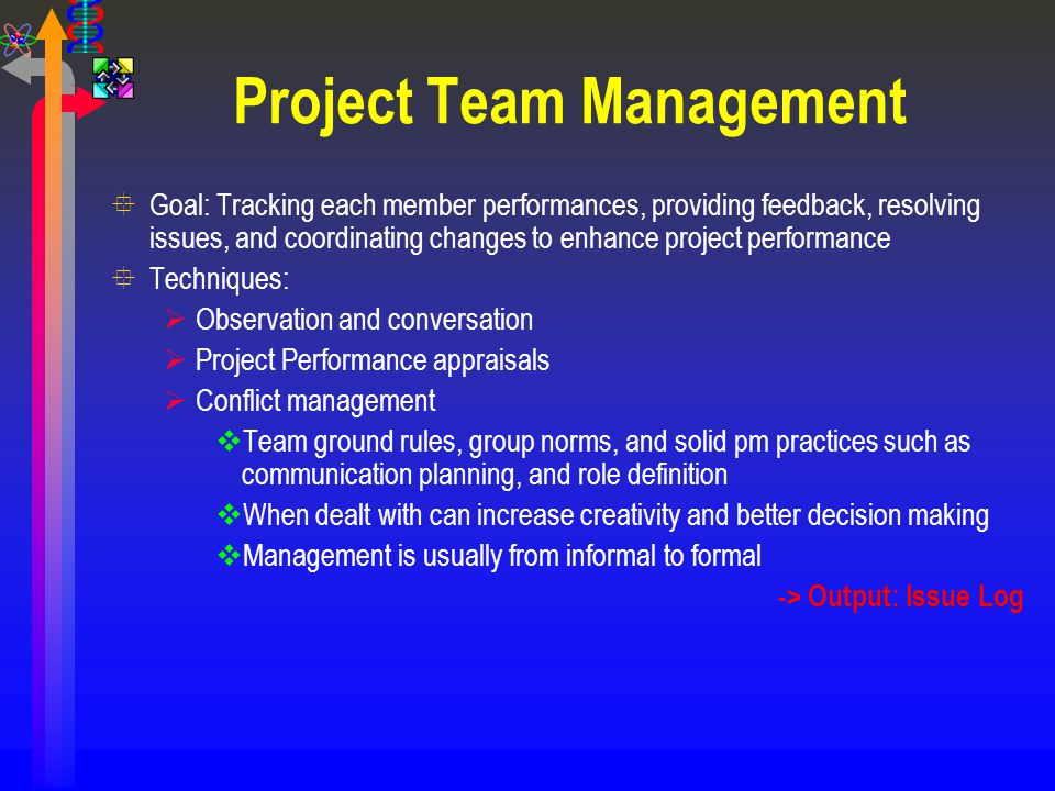 Project Team Management °Goal: Tracking each member performances, providing feedback, resolving issues, and coordinating changes to enhance project pe