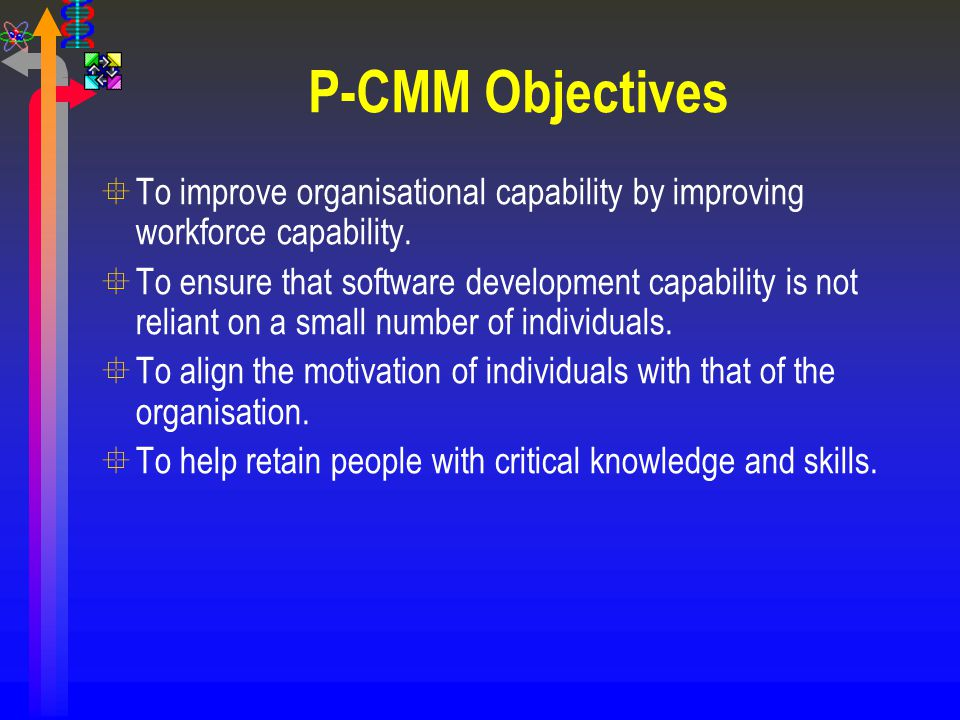 P-CMM Objectives °To improve organisational capability by improving workforce capability. °To ensure that software development capability is not relia