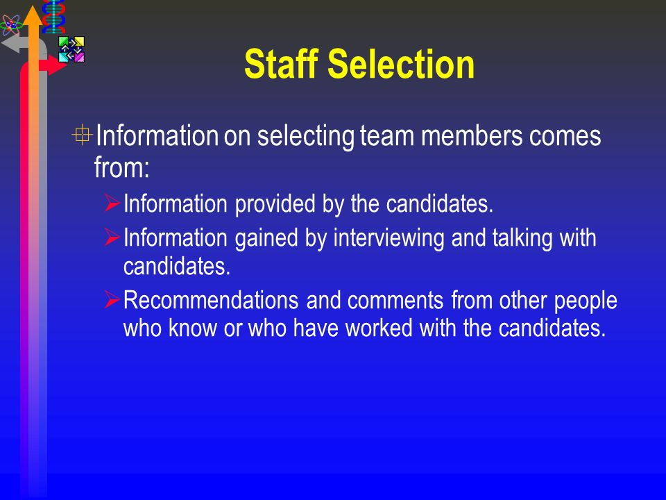 Staff Selection °Information on selecting team members comes from:  Information provided by the candidates.  Information gained by interviewing and