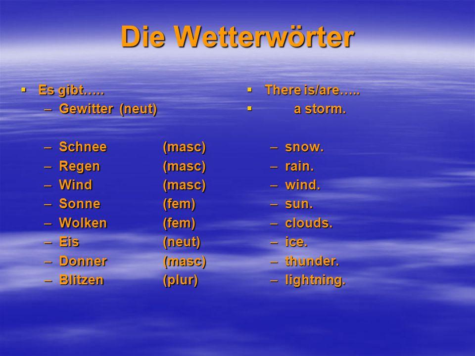 Die Wetterwörter  Es gibt…..