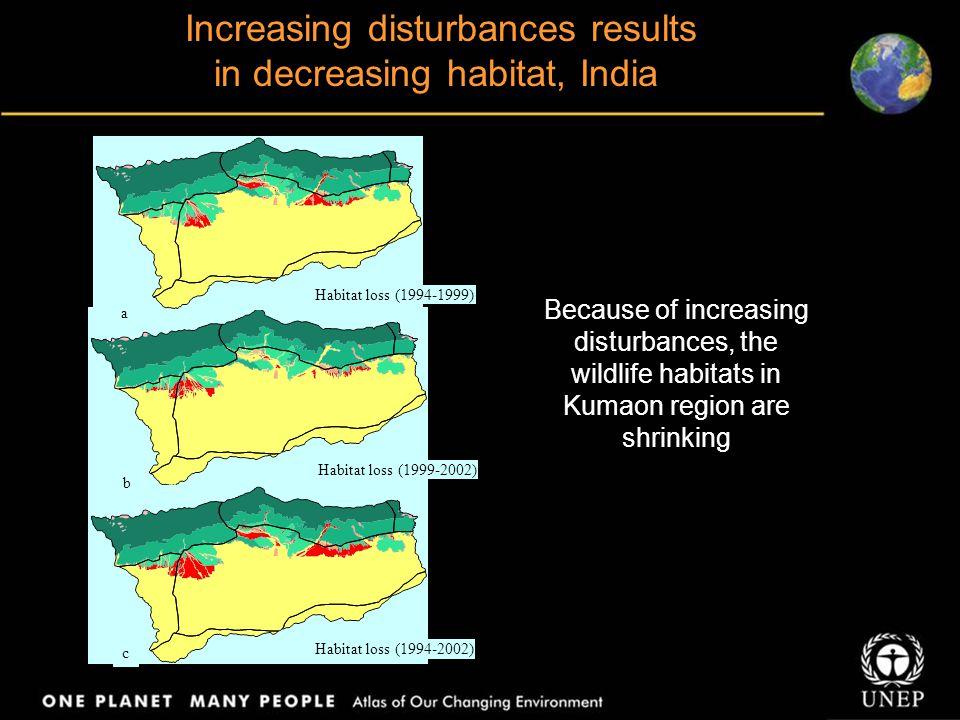 Habitat loss (1999-2002) Habitat loss (1994-2002) Habitat loss (1994-1999) a b c Increasing disturbances results in decreasing habitat, India Because