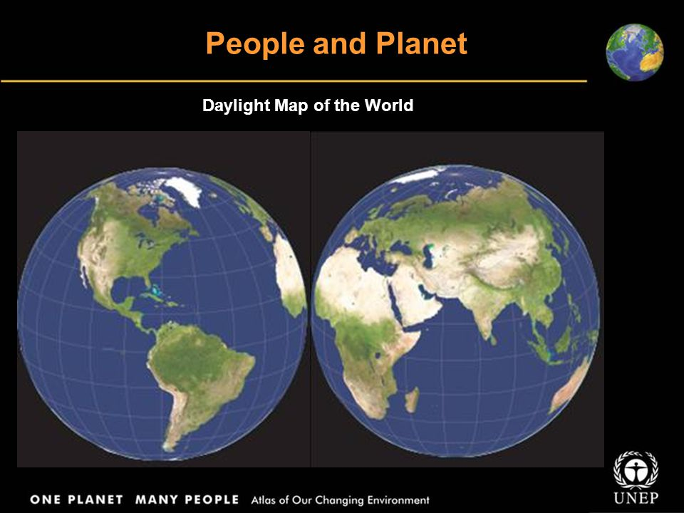 People and Planet Daylight Map of the World