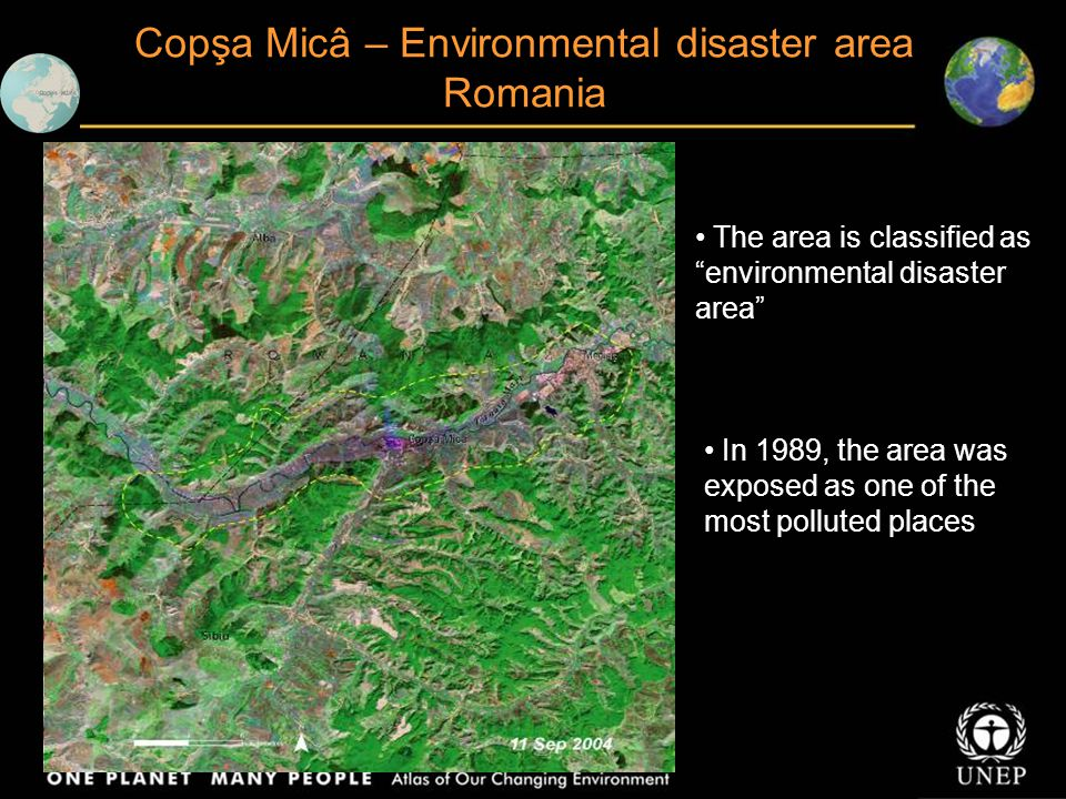 """The area is classified as """"environmental disaster area"""" In 1989, the area was exposed as one of the most polluted places Copşa Micâ – Environmental di"""