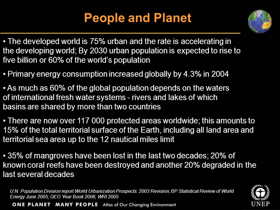 People and Planet U.N. Population Division report World Urbanization Prospects: 2003 Revision; BP Statistical Review of World Energy June 2005; GEO Ye