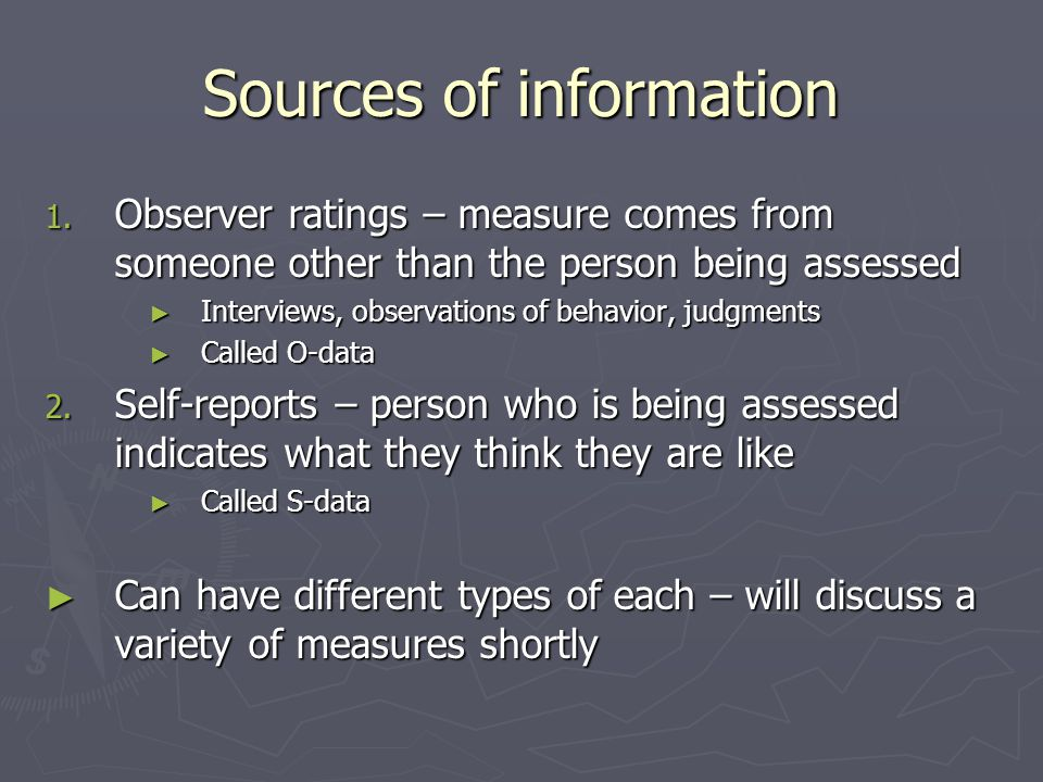 Sources of information 1.