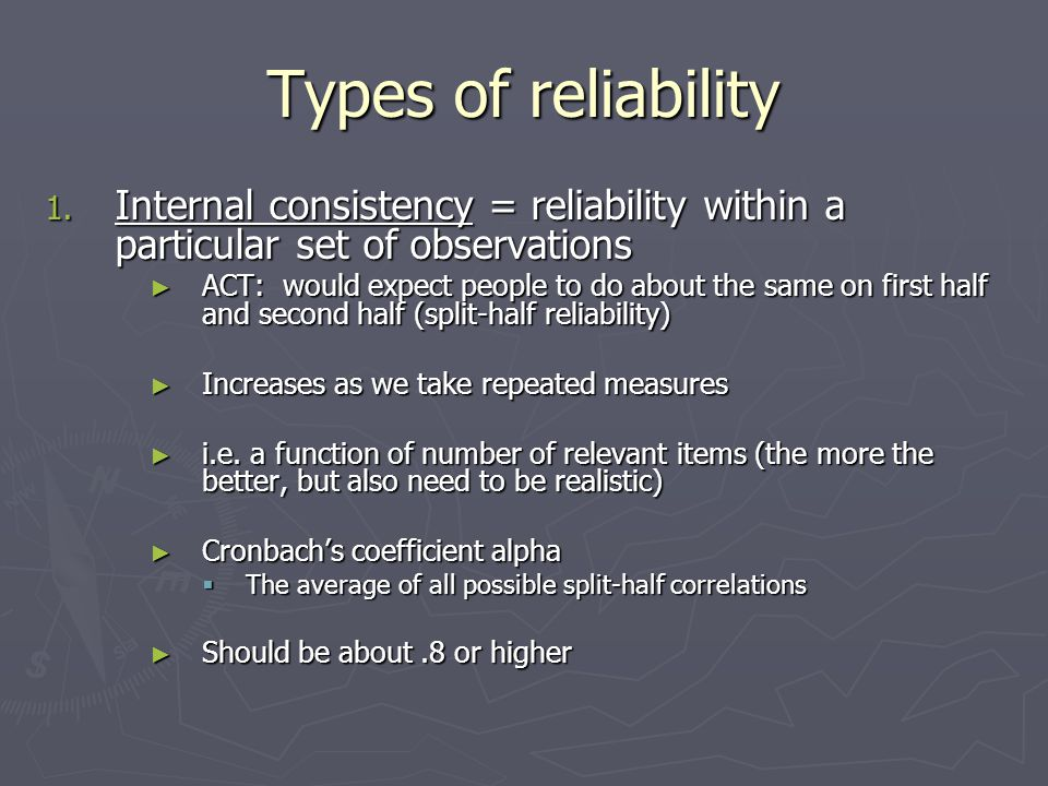 Types of reliability 1.