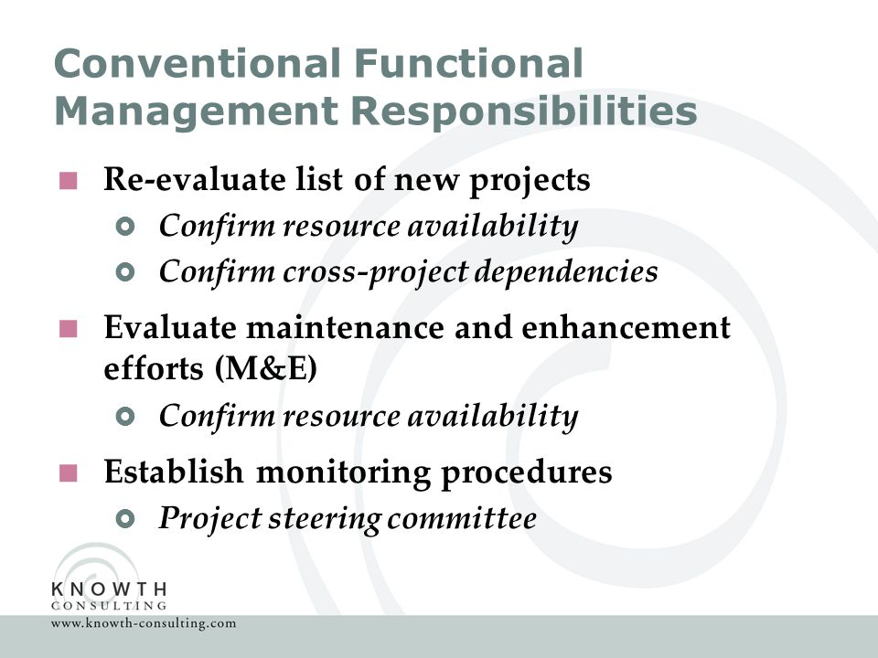 Conventional Functional Management Responsibilities  Re-evaluate list of new projects  Confirm resource availability  Confirm cross-project dependencies  Evaluate maintenance and enhancement efforts (M&E)  Confirm resource availability  Establish monitoring procedures  Project steering committee