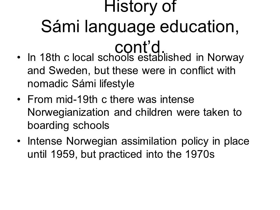 History of Sámi language education, cont'd.