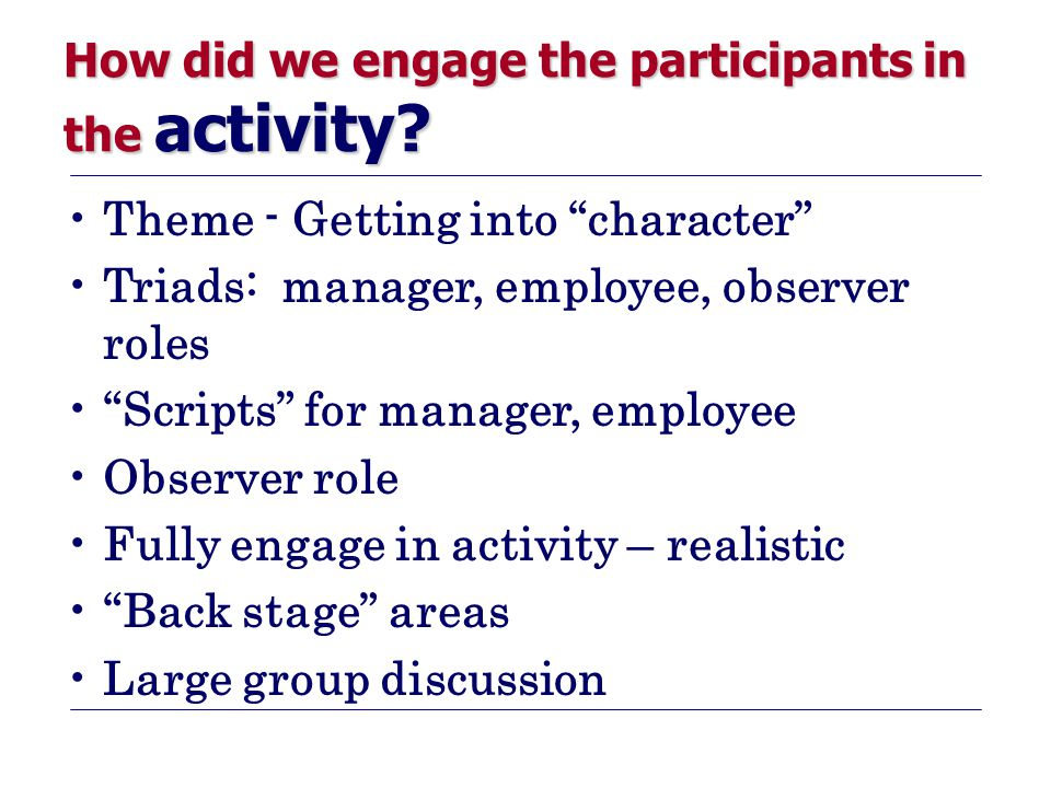 How did we engage the participants in the activity.