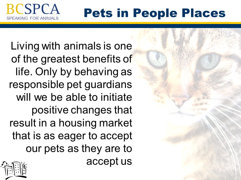 SPEAKING FOR ANIMALS Pets in People Places Living with animals is one of the greatest benefits of life.