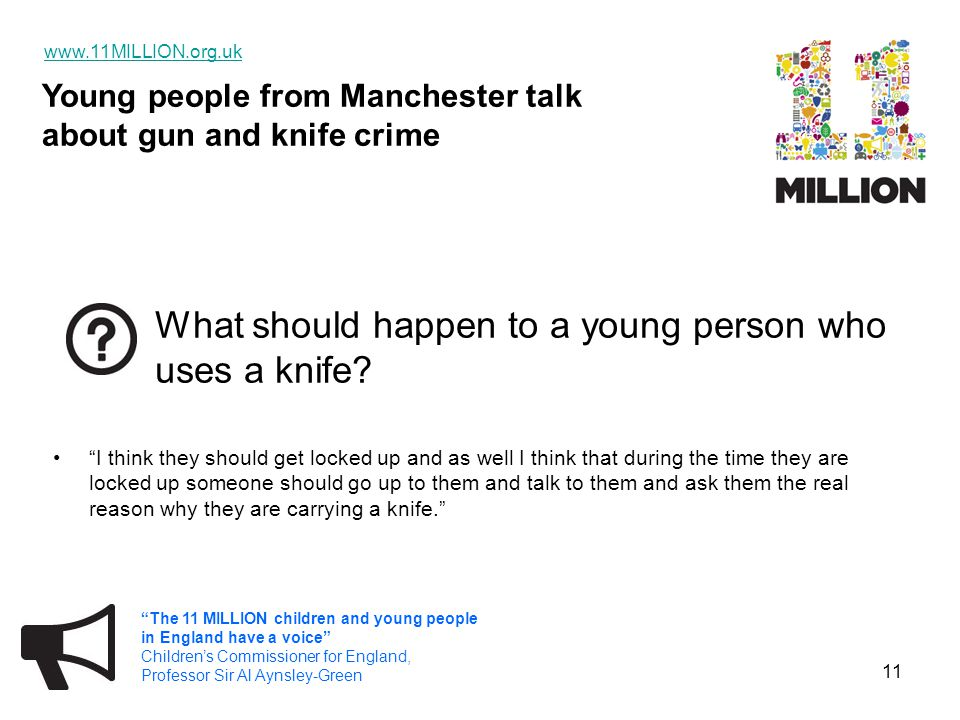 "Young people from Manchester talk about gun and knife crime www.11MILLION.org.uk ""The 11 MILLION children and young people in England have a voice"" Ch"