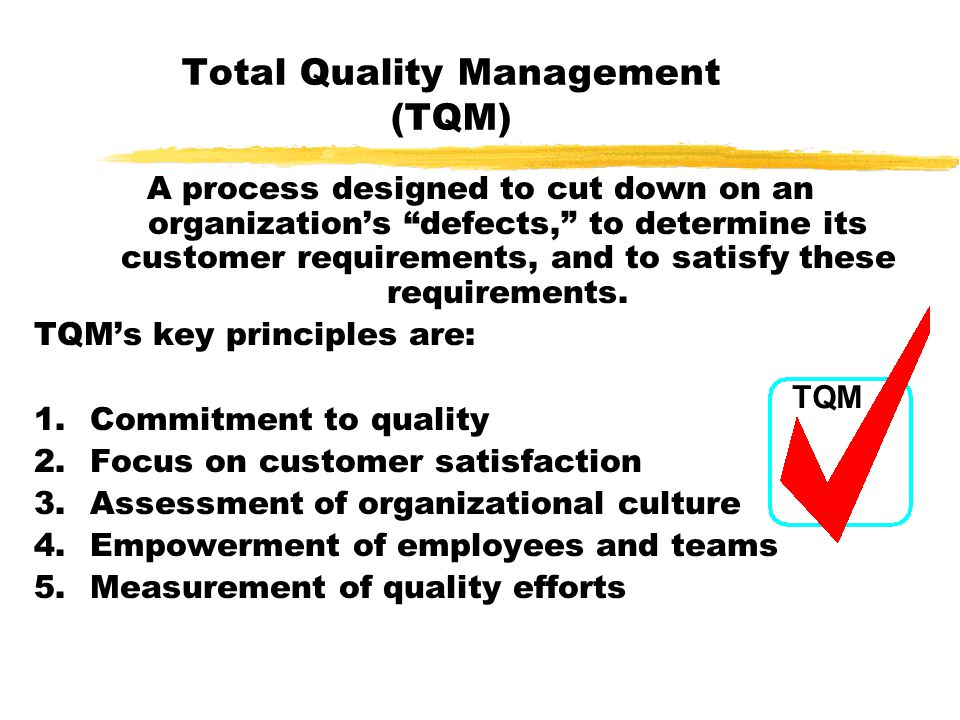 "Total Quality Management (TQM) A process designed to cut down on an organization's ""defects,"" to determine its customer requirements, and to satisfy t"