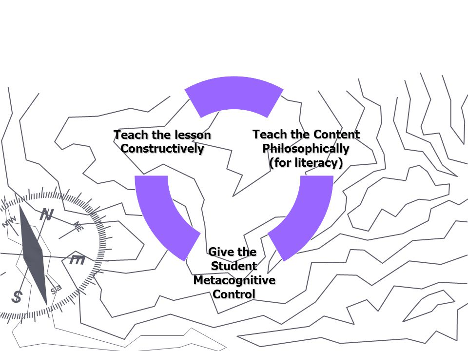 Teach the Content Philosophically (for literacy) Give the StudentMetacognitiveControl Teach the lesson Constructively