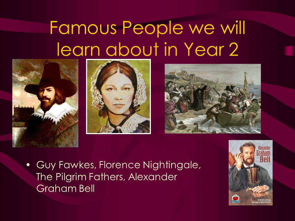 Famous People we will learn about in Year 2 Guy Fawkes, Florence Nightingale, The Pilgrim Fathers, Alexander Graham Bell