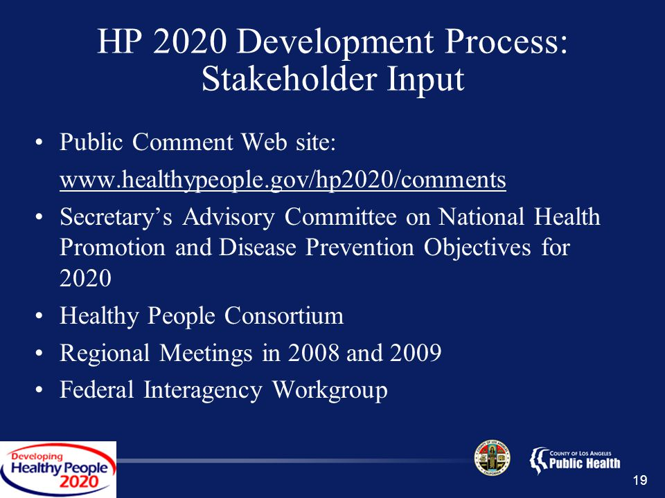 19 HP 2020 Development Process: Stakeholder Input Public Comment Web site:   Secretary's Advisory Committee on National Health Promotion and Disease Prevention Objectives for 2020 Healthy People Consortium Regional Meetings in 2008 and 2009 Federal Interagency Workgroup
