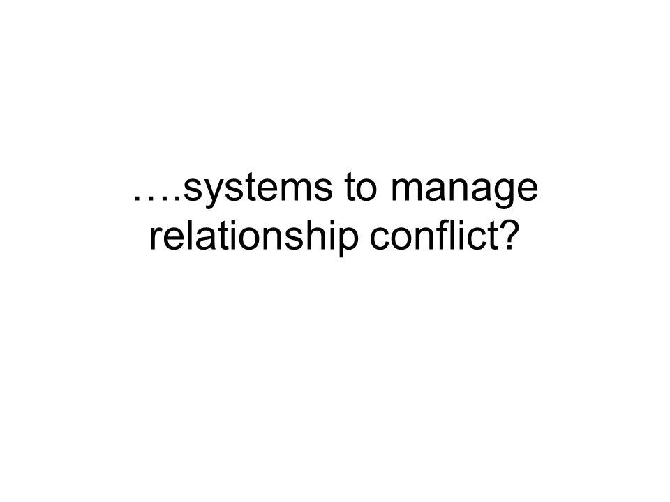 ….systems to manage relationship conflict?