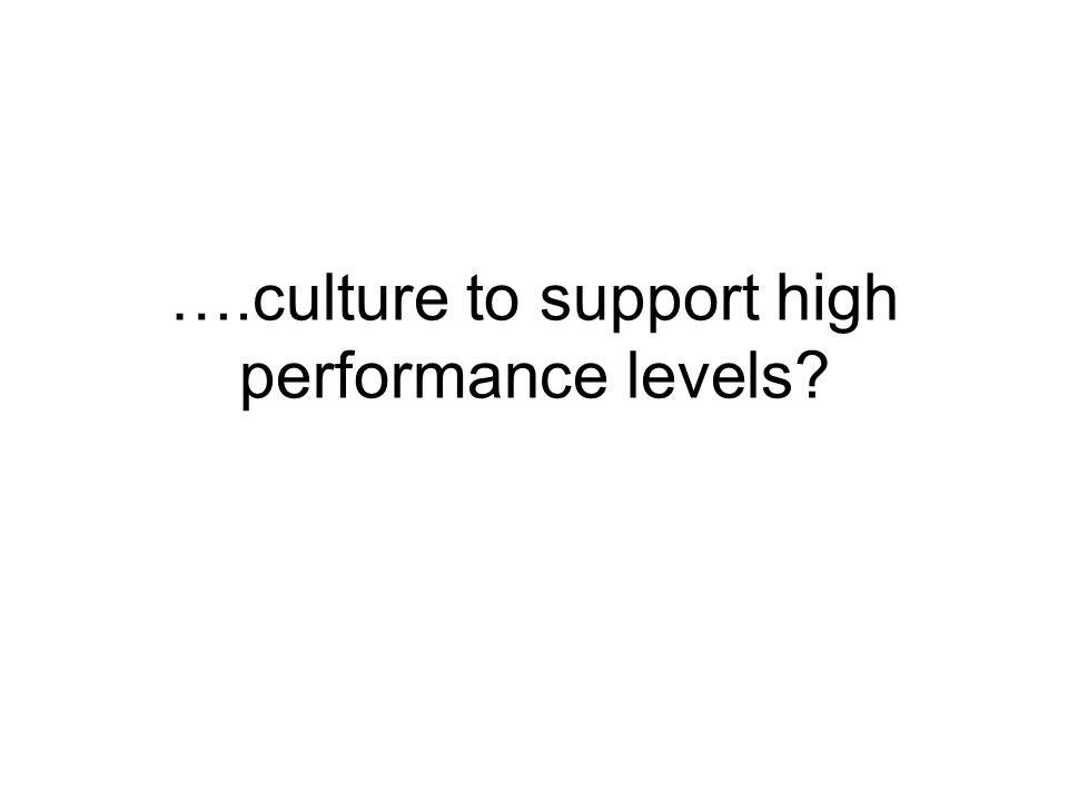 ….culture to support high performance levels
