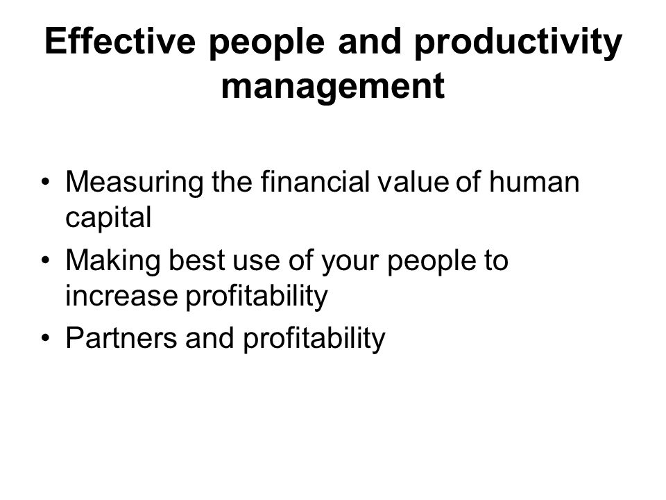 Effective people and productivity management Measuring the financial value of human capital Making best use of your people to increase profitability Partners and profitability