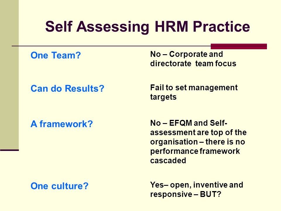 Self Assessing HRM Practice One Team. No – Corporate and directorate team focus Can do Results.