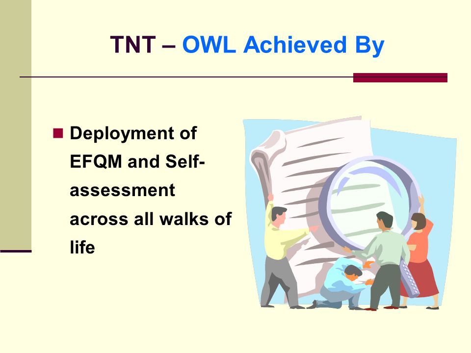 TNT – OWL Achieved By Deployment of EFQM and Self- assessment across all walks of life